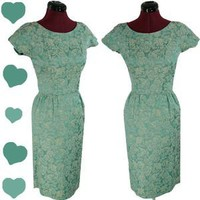 Vintage 50s 60s Blue Green MAD MEN Cocktail Party Dress XS Sheath Wiggle FLORAL | eBay