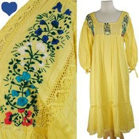 Vintage 70s YELLOW Mexican PINTUCKED Embroidered Dress L XL Floral Hippie LACE | eBay