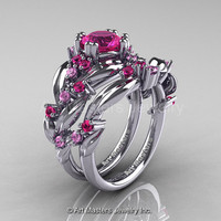 Nature Classic 14K White Gold 1.0 Ct Pink Sapphire Leaf and Vine Engagement Ring Wedding Band Set R340S-14KWGPS