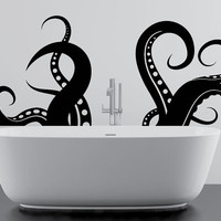 Octopus or Sea Creature Tentacle Vinyl Wall Sticker for Bathroom or Bath, Glass or Window Art Decor Decal! DIY or Mural with Free Shipping!