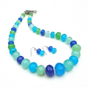 Stunning ocean blue jade necklace set - exquisite tropical colored faceted gemstone beaded necklace - beach inspired by Sparkle City Jewelry