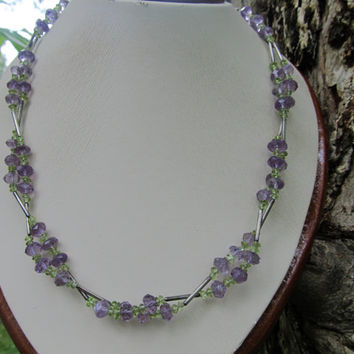 Natural faceted amythest, peridot and sterling silver twisted necklace.