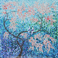 """large blue painting CHERRY BLOSSOM 64""""x64"""" Love birds Original Acrylic landscape on canvas Ready to ship large wall art unstretched canvas"""