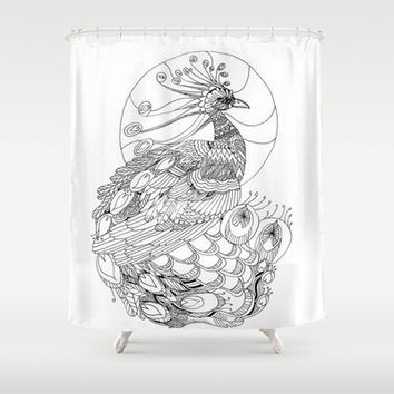 Artistic Shower Curtain -Black and White Peacock - Modern, chic, illustrated, art, decor, bathroom, home