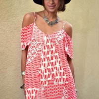 Off the Shoulder Printed Shift Dress in Coral