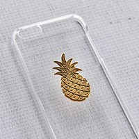 Gold Pineapple Fruit Clear Transparent iPhone 5c Apple Case Cover Protector Hard Exotic Plastic