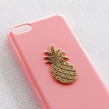 Sexy Tropical Pink iPhone 5c Apple Case Cover Protector Gold Pineapple Fruit Hard Plastic