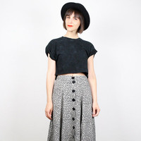 Vintage 90s Skirt Black White Midi Skirt 1990s Skirt Maxi Skirt Daisy Floral Print Skirt Tea Length Skirt Soft Grunge Skirt S M Medium L
