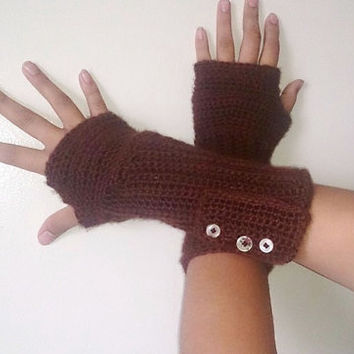 Long fingerless gloves, Crochet fingerless gloves, Brown gloves