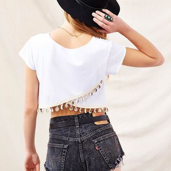 Urban Renewal Shell- Trim Cropped Tee- White