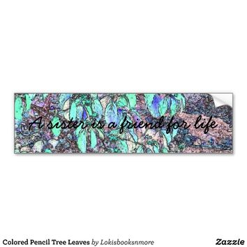 Colored Pencil Tree Leaves Bumper Stickers from Zazzle.com