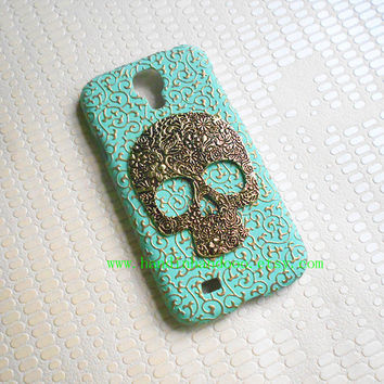 Samsung Galaxy S4 i9500 case,Samsung cover,Bronze flower skull mint green color Embossed flower Samsung Galaxy S4 case