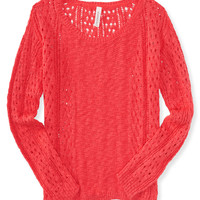 Sheer Open-Stitch Boxy Sweater