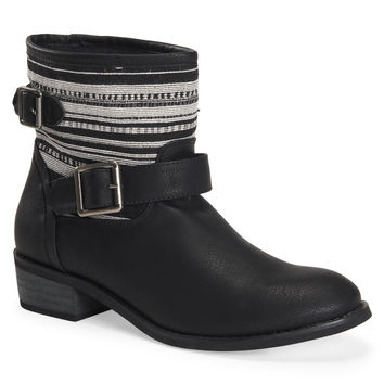 Fabric Stripe Buckle Boot