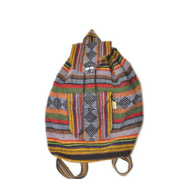 90s grunge NOS woven backpack / large southwestern bucket bag