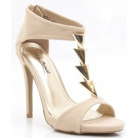 Anne Michelle Open Toe Gold Triangle T-Strap Stiletto Heel Sandal NUDE BEIGE