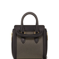 Heroine Studded Leather Mini Satchel Bag, Black/Golden