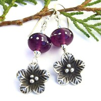 Thai Silver Flowers Handmade Earrings Purple Lampwork Summer Jewelry