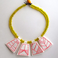 Embroidered necklace geometric hot pink pendants with transparent yellow Native American trade beads with Ethiopian amber toggle