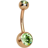 Green CZ Rose Gold Plated Belly Ring | Body Candy Body Jewelry