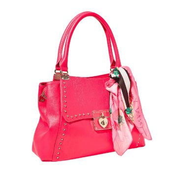 Stay a fashion beat ahead of the trend with this faux-leather satchel detailed with fun, colorful printed wrap tied around handles. Featuring flirty signature heart hardware, it's certain to set any look aflutter.