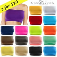 3 FOR $10 NEW Women Seamless Bandeau Bra Strapless Basic Crop Boob Top