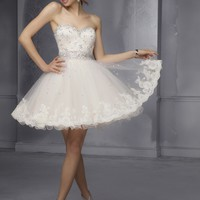Short Homecoming Dresses From Sticks And Stones By Mori Lee Dress Style 9278 Lace and Tulle with beading