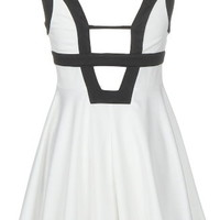 Gallery Girl Dress | Black White Cutout A-Line Party Dresses | Rickety Rack