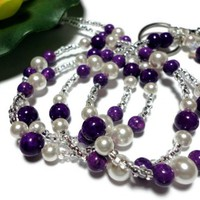 Lanyard Id Badge Necklace Pearl Gemstone Purple White Angel Jewelry