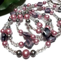 Pearl Lanyard Id Badge Necklace Pearl Rose Grey Beaded Angel Breakaway