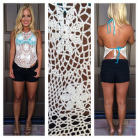 Sun And Sand Crochet Halter Cover Up