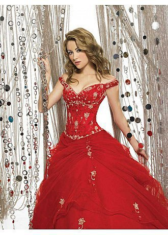 Buy discount Beautiful Satin Ball Gown Off -The-Shoulder V Back Basque Prom Dress at dressilyme.com