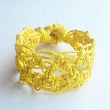 Yellow Lacy Hemp Cuff Bracelet, ready to ship.