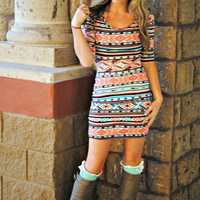 MADE YOU LOOK MINT AZTEC 3/4 SLEEVE DRESS