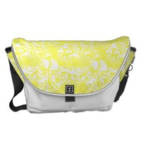 Lemon Yellow and White Floral Print Messenger Bag from Zazzle.com