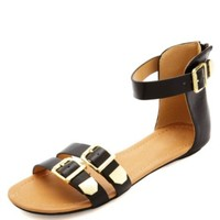 GOLD-TIPPED DOUBLE BUCKLED FLAT SANDALS