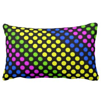 Bright Neon Colorful Dots Lumbar Throw Pillow