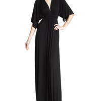 Solid Black Caftan Maxi Dress