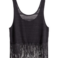 H&M - Tank Top with Fringe -