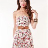 A'GACI Double Button Rose Print Dress W/Belt - Dresses