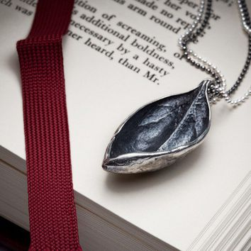 $145.00 Textured leaf necklace in sterling silver  Bahama Leaf  by redsofa