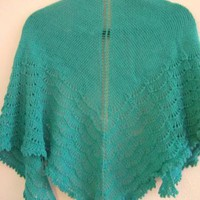 Hand Knitted Jade Shawl by FourSeasons on Zibbet