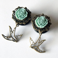 Swallows 3/4 inch 19mm Tattoo Inspired Plugs for by Glamsquared