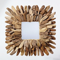 Square Driftwood Mirror