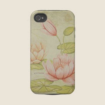 Vintage Waterlilies Iphone 4 Tough Case