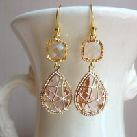 Champagne Wrapped Glass Dangle Earrings by DesignsbyJocelyn