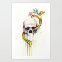 Adventure through Time and Face with Jake, Finn, and Lady Rainicorn | Skull Watercolor Art Print by Olechka
