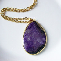 Amethyst Jade Gemstone Necklace in Gold Pendant by BoreasDesign