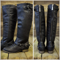 SZ 5.5 Montana Skye Black Strap Riding Boots