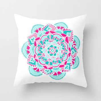 Hot Pink & Teal Mandala Flower Throw Pillow by Tangerine-Tane